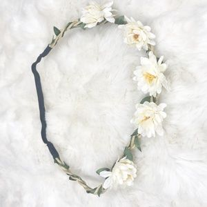 Boho Flower Crown/ Headband (new) ivory and yellow